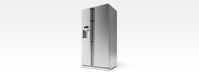 A stainless steel refrigerator with a water dispenser